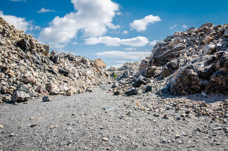 Panoramic shot of rocks on land against sky