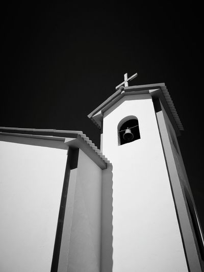 Iglesia EyeEmNewHere Island Isla Blackandwhite Black And White Blackandwhite Photography Black & White No People Outdoors Spirituality Built Structure Bell Tower Building Exterior Bell Architecture Day Cross