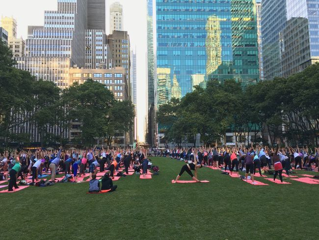 Large Group Of People City Leisure Activity Crowd Building Exterior Lifestyles City Life Skyscraper New York City Yoga Bryant Park  Bryant Park NYC