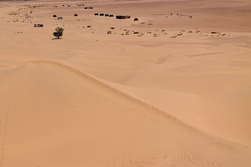 Mid Distance View Of Tents In Sahara Desert