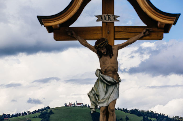Catholic Church Clouds And Sky Faith INRI Jesus Cross Landscape Religion Rural Scenes