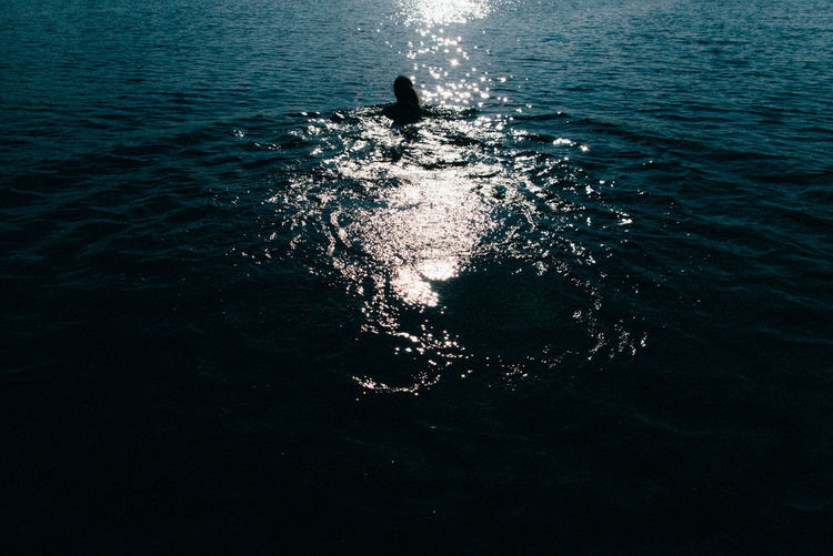 High angle view of silhouette person swimming in sea