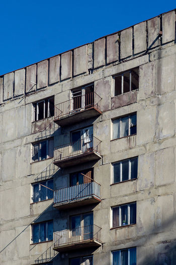 Built Structure Architecture Building Exterior Window Low Angle View Sky Building No People Day Clear Sky Residential District Nature Blue Outdoors Old Wall City Balcony In A Row Sunlight Apartment