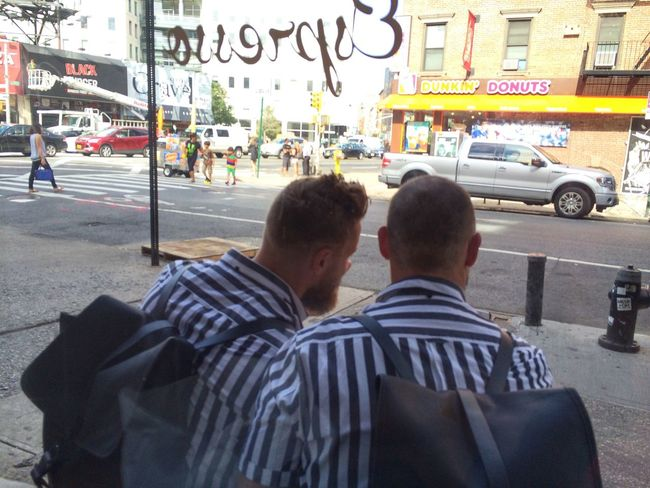 When friends realize they wore the same shirt to the coffee shop at Everyman Espresso on September 3, 2014 in New York City. #StartOfMyDay #Stripes