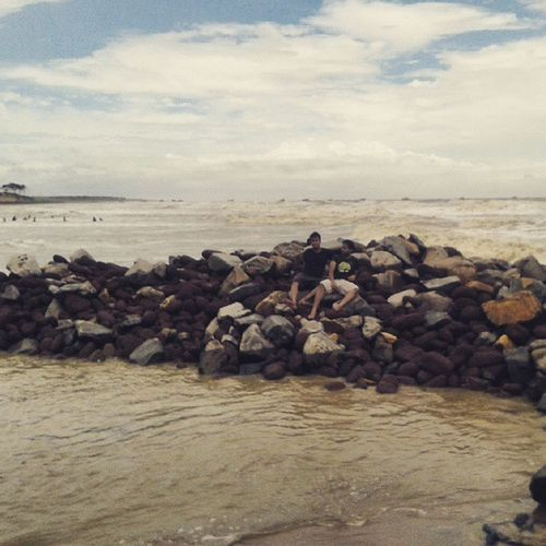 Naturalrockbarrier Nature Dudes Waves Sea Clouds Bluesky