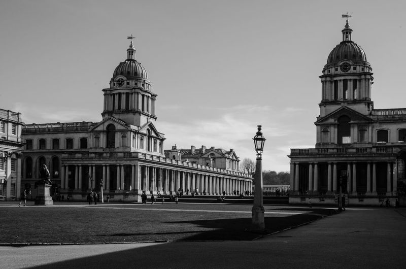 Architecture Building Exterior Built Structure City City Life City Street Dome Famous Place Greenwich Naval College History Lawn Monument Outdoors Tourism Travel Destinations