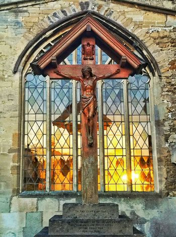 Holy glow Church Crucifix Jesus Christ Glowing Church Window Evening StMarychurch