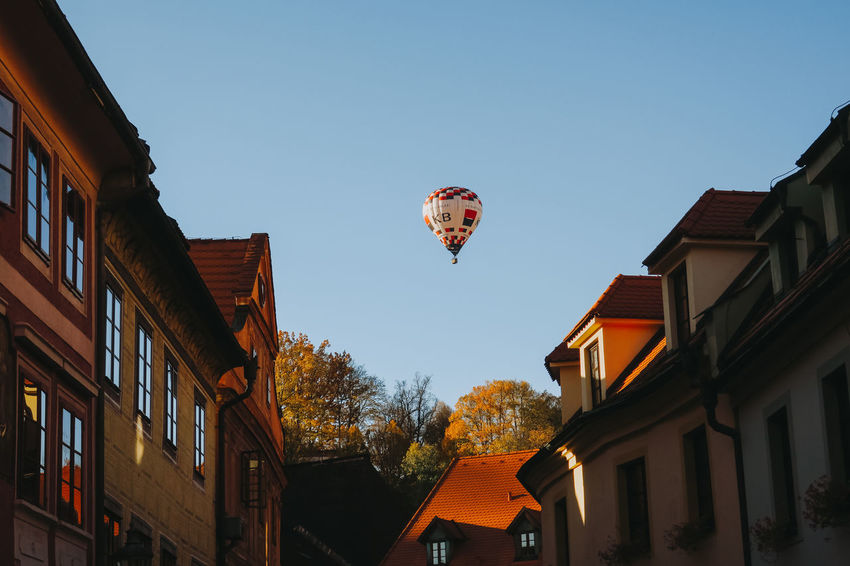 Czech Republic Tranquility Balloon Clear Sky Europe Flying Hot Air Balloon Low Angle View Mid-air Nature Outdoors Plant Sky Tourism Travel Destinations Tree Window Český Krumlov