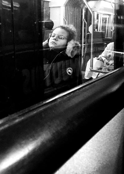 Dreamer Streetphoto_bw Streetphotography Reflection Window Looking Through Window One Person Indoors  Public Transportation Real People Transportation One Young Woman Only