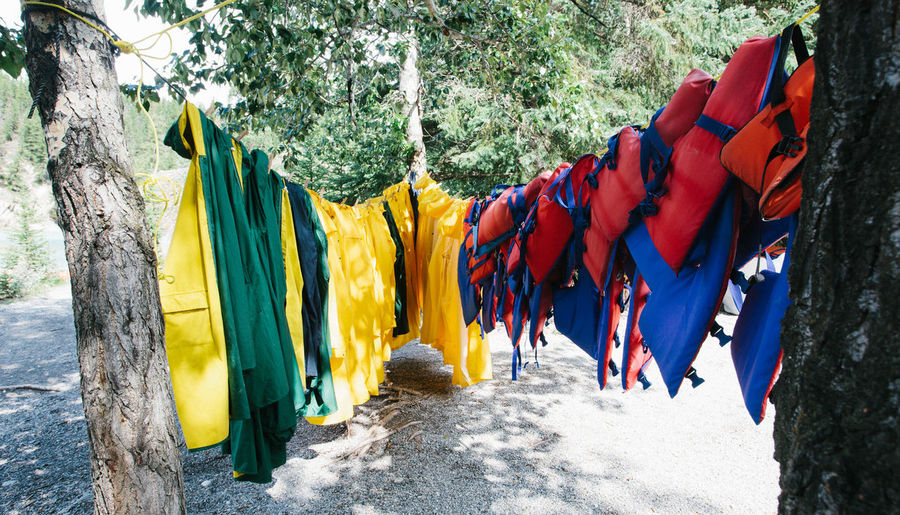 Colorful Clothes Hanging On Clothesline