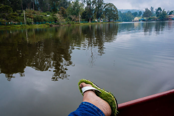 Boating time .. for the sake of a foreground 😅 Outdoors Boat On A Boat Lake Chill Water Leg Foot Slippers Flipflops Grass Tranquility Pleasant Tadaa Community Tamilnadu Taking Photos Kodaikanal Travel Photography Nature Beauty In Nature No People Beautiful Focus On Foreground Selective Focus Depth Of Field