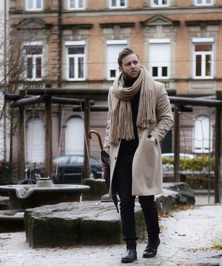 Thinking Rainy Day Umbrella Coat Cashmere Emvoyoe Ootd Outfit Of The Day Outfitoftheday Karlsruhe Germany Deutschland Warm Clothing Winter Adults Only One Person Outdoors Building Exterior One Woman Only Women Adult Fashion Built Structure Cold Temperature