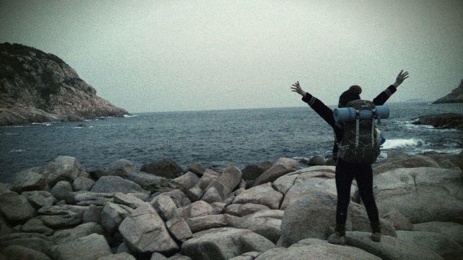 Backpacker Beach Ocean Embrace