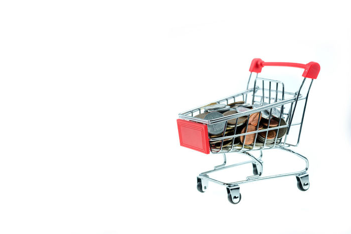 Business Buying Close-up Commercial Activity Consumerism Copy Space Customer  Cut Out E-commerce Groceries Luggage Cart  Market Metal People Red Retail  Shopping Basket Shopping Cart Store Studio Shot Supermarket Trolley White Background