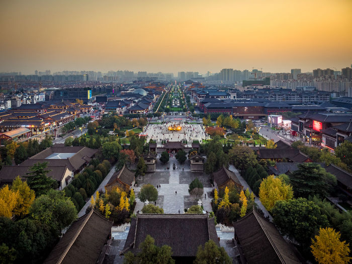 Gold Sky Autumn Autumn Leaves China Beauty China Photos Cityscape Gold Travel Photography Xi'an Xi'an China Aerial Aerial Photography Aerial View China City Cityscapes Golden Hour High Angle View History Outdoors Sky Skyscraper Travel Destinations Yellow 中国 西安 Paint The Town Yellow