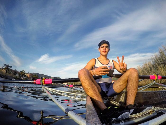 Lieblingsteil Sitting Looking At Camera Sky One Person Full Length Nautical Vessel Outdoors Portrait Front View Leisure Activity Nature Day Cloud - Sky Real People Young Adult Water People Rowing Rowing Boat Gopro