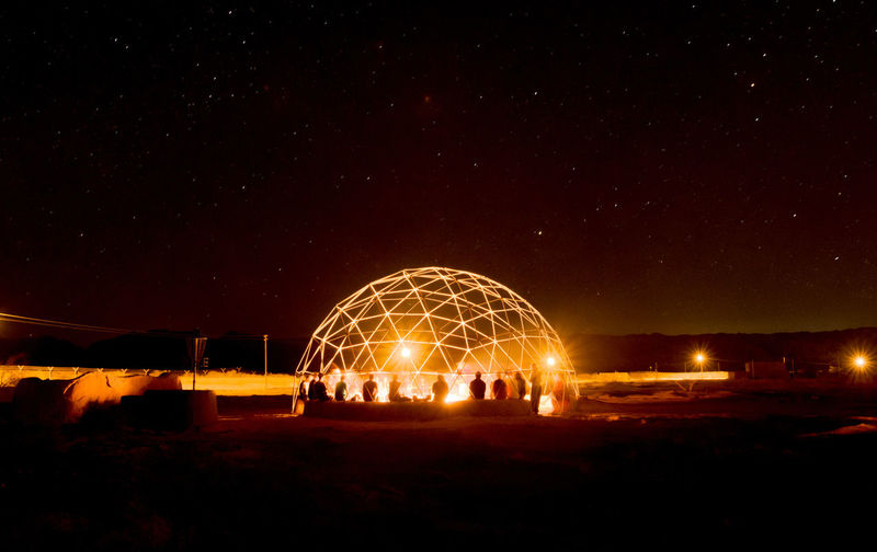 Night Illuminated Sky Glowing Long Exposure Nature Motion Field Wire Wool Architecture Outdoors Land Blurred Motion No People Arts Culture And Entertainment Geometric Shape Built Structure Circle Light Painting Shape Sparks Light