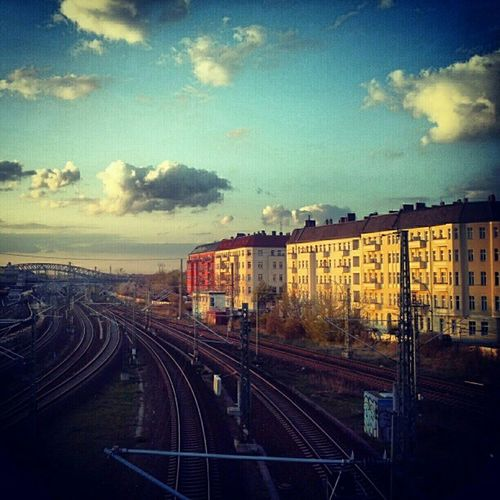 Berlin Bornholmerstrasse Rails Sunset clouds schwedtersteg bridge gesundbrunnen mycity