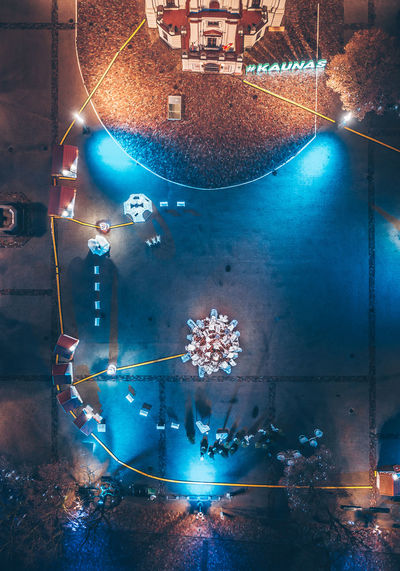 Kaunas old town Drone  Aerial View Aerial Mavic Mavic 2 Mavic 2 Pro Birds Of EyeEm  Europe Kaunas Old Town Night Flat Lay Illuminated Water Glowing No People Architecture Lighting Equipment Light - Natural Phenomenon Blue Built Structure Communication Decoration City Celebration Capture Tomorrow