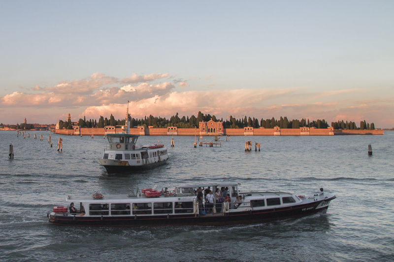 A View of the Lagoon Of Venice from Fondamente Nuove, a Sunset over San Michele Island the Graveyard of Venice... Venice, Italy Italy Taking Photos Canon1100d Sunset_collection Sundown Cloud_collection  RedClouds  Graveyard Beauty Boat Boats Public Transportation Public Transport