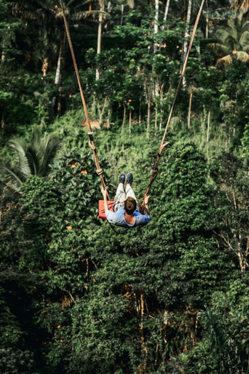 Rear view of people sitting on swing in forest