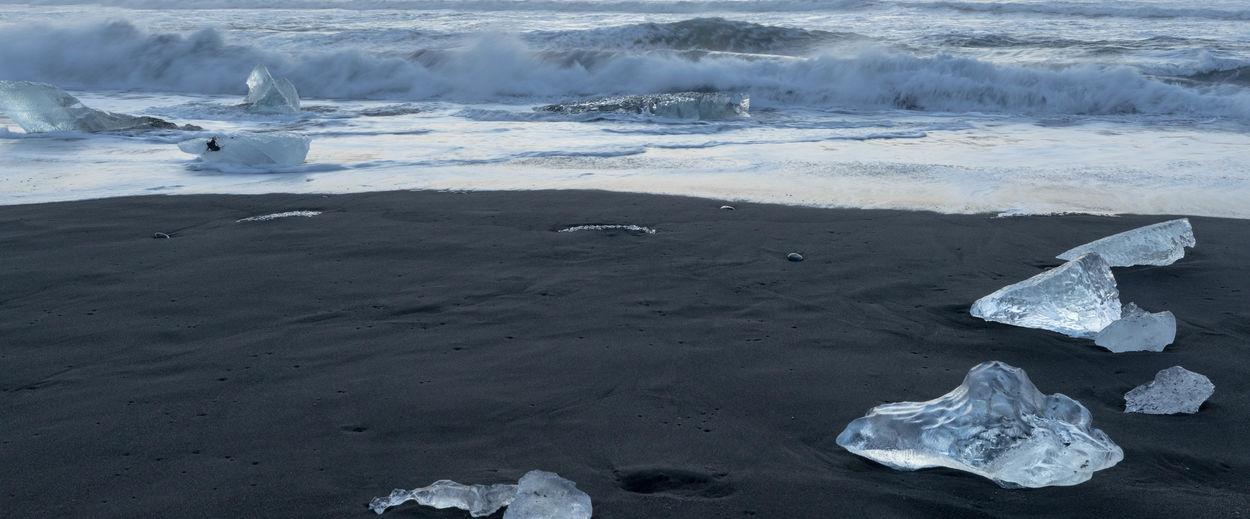 Beach Black Sand Beach Iceland Cold Temperature Frozen Glacial Glacier Ice Iceberg - Ice Formation Nature Sea Water Wave