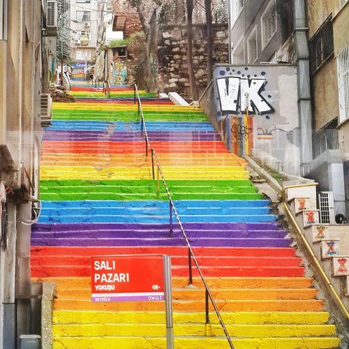 Salı Pazarı Istanbul Istanbul Turkey Turkey Stairs Walking The Stairs Staircase Rainbow Colorful City Colorful