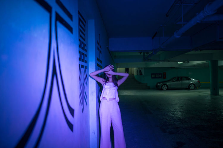 pale man i Neon Neon Light Cinematic Art Fine Art Photography Ghostly Haunting  ASIA Portrait Of A Woman Young Women Standing Arts Culture And Entertainment Dancing Arms Raised Urban Scene Human Limb Hand Raised