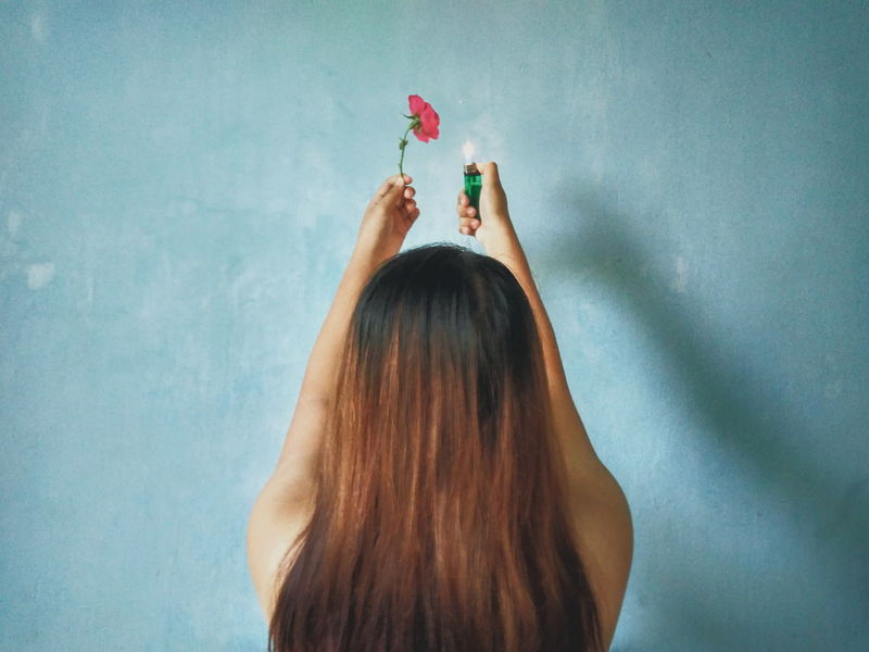 EyeEm Selects Flower On Fire One Woman Only Indoors  Young Women Everythingisbeautiful Indoor Photography Close-up Brown Hair Girlpower