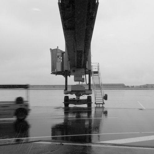 View of passenger boarding bridge at airport