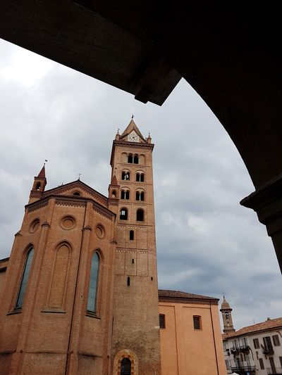 Travel Destinations History Architecture Religion Building Exterior Outdoors Low Angle View Clock Tower No People Clock Sky Clock Face Day Piedmont Italy Langhe Summer Alba Piedmont Cathedral Cloud - Sky Grey Sky