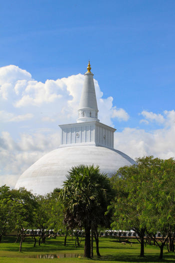 Architecture Blue Sky Blue Sky And Clouds Building Exterior Built Structure Cloud - Sky Day Dome Green Color No People Outdoors Ruwanwelisaya Sky Sri Lanka Stupa Temple Tree