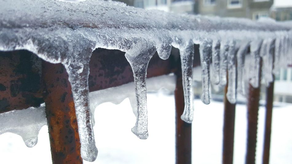Cold Temperature EyeEm Best Shots Fence Focus On Foreground Frozen Hanging Ice Iceicles Icicle Landscape Landscape_Collection Learn & Shoot: Balancing Elements Metallic Outdoors Railing Railing Railing _ Collection Rast Showcase March Snow Snowstorm Spring Springtime Urban Spring Fever Weather