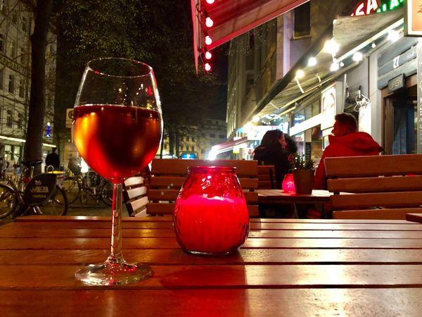After Work Having A Drink Nightlife Lights Rosenthaler Platz Berliner Ansichten Red Alcohol Drink Food And Drink Glass Refreshment Wine Table Still Life