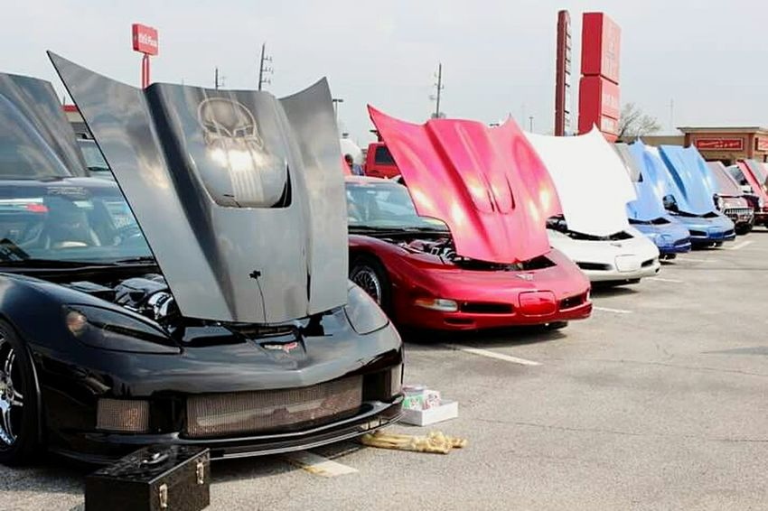 """""""Hoods Up"""" Transportation No People Outdoors Day Sky Houston Texas Clear Sky Images Houston NTENSEdesignz NTENSElifestyle EyeEmNewHere City Of Houston Mode Of Transport Corvettes C6 Chevy Chevrolet Corvette Chevrolet Parking Lot Photography Parking Lot CarShow"""
