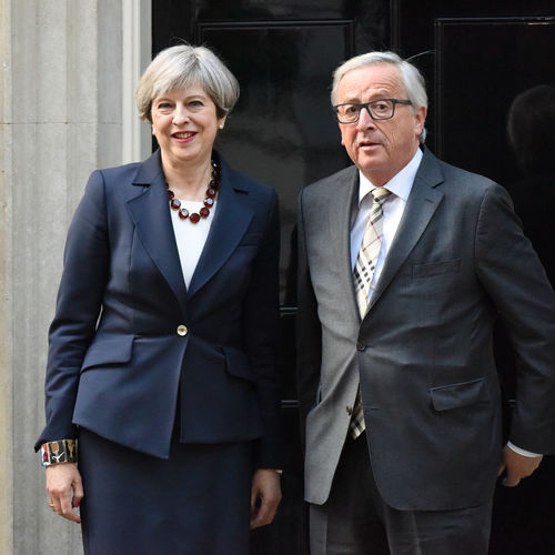 London, UK. 26 April, Minister Theresa May hosts President of the European Commission Jean-Claude Juncker at 10 Downing Street. 10 Downing Street Jean-Claude London Meeting President Adult Brexit Europe European Commission Formalwear Glasses Hosts Juncker Looking At Camera Minister Primeshots Standing Street Suit Theresa May Two People Uk Well-dressed Women