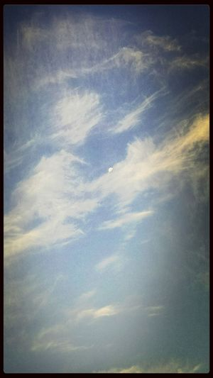 Moon and clouds this morning. Morning Moon Clouds Sky Nature