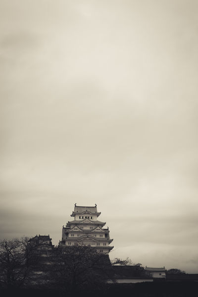 Architecture Beauty In Nature Building Exterior Built Structure Castle Cloudy Dark Day Himeji Castle Japan Japan Photography Low Angle View No People Outdoors Sky Spring Summer Tree