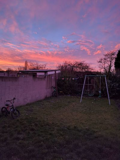 Pink Sunset Sky Cloud - Sky Outdoors No People Swing