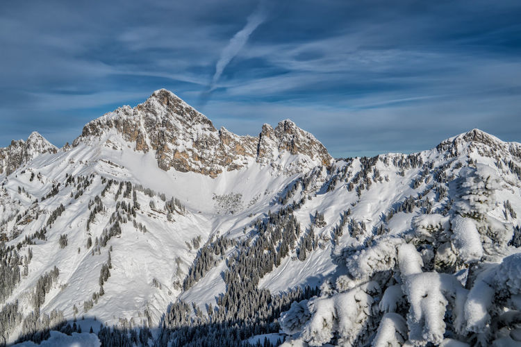 Snowcapped mountains Winter Cold Temperature Scenics - Nature Beauty In Nature Cloud - Sky Sky Snow Tranquil Scene Mountain Environment Tranquility White Color Day Landscape Non-urban Scene Nature No People Idyllic Snowcapped Mountain Mountain Peak Formation Range Tyrol Austria Alps
