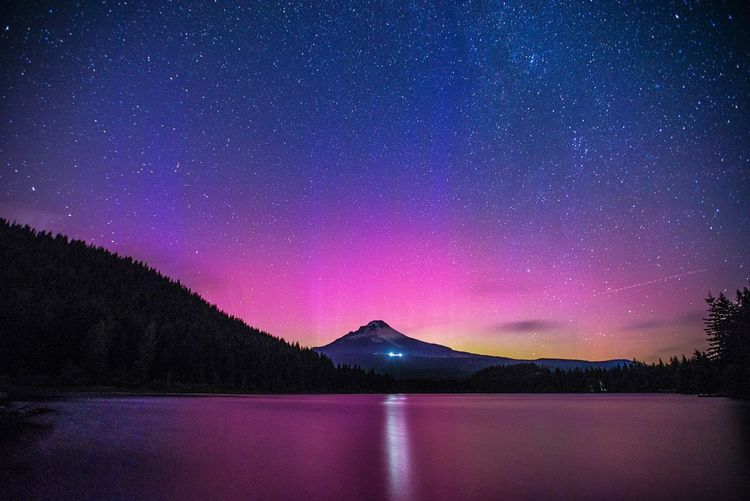 Aurora Borealis over Mount Hood from Trillium Lake, Oregon Arts Culture And Entertainment Astronomy Aurora Aurora Borealis Beauty In Nature Galaxy Lake Landscape Milky Way Mount Hood Mountain Nature Night Nightphotography No People Outdoors Pacific Northwest  PNW Scenics Sky Space Star - Space Travel Water