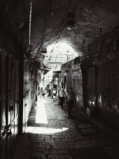 Heading towards the Western Wall exploring the Souk. Hello World IPhoneography Eye4photography  Black & White Blackandwhite Monochrome Streetphotography Cityscapes Light And Shadow Urban Lifestyle