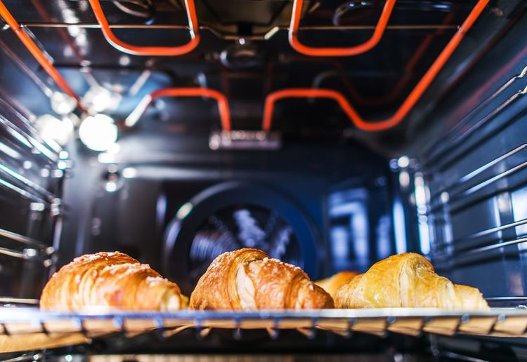 Tasteful Croissants Baking in the Electric Residential Oven. Home Made Desert. Baked Bakery Baking Bread Breakfast Close-up Croissant Day Food Food And Drink French Food Freshness Indoors  Loaf Of Bread No People Oven