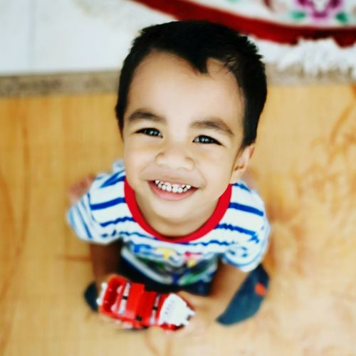 Portrait of smiling boy holding toy car at home