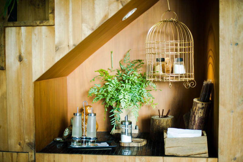 Birdcage hanging over countertop at home