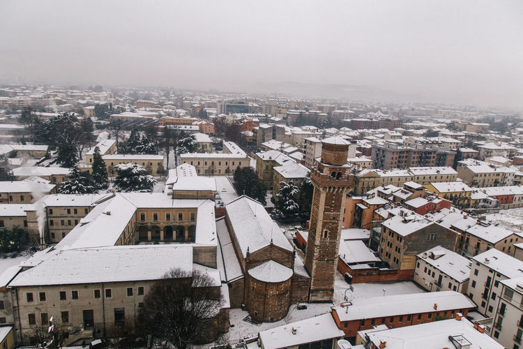 High Angle View Of Town In Winter