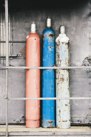 Gas Gas Cylinder Industry Old-fashioned Rust Working Container Dirty Equipment Gas Bottles Insecure Metal Metallic Old Red Blue Grey Rusty
