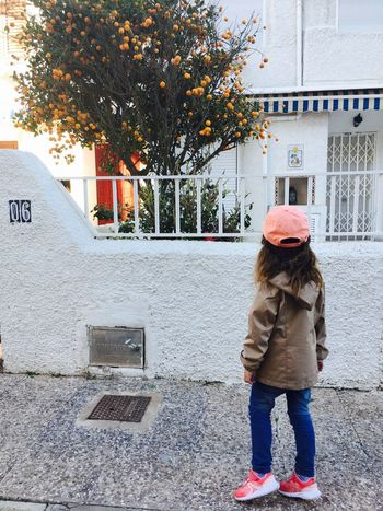 Little girl looking at mandarin tree. Spring in Spain SPAIN Europe Tropical Climate Little Girl Child Looking Full Length Mandarin Oranges Tree Mandarin Tree Tangerine Beauty In Nature Nature Outdoors Yard One Person House Season  Seasonal Blooming Day Sunny Day 5 Years Old Outside
