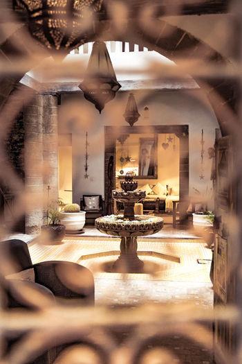 Interior of illuminated restaurant at home