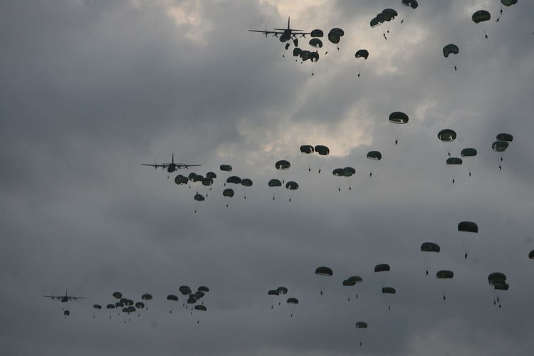 Paratroopers in Batam island, indonesia. Abundance Backgrounds Beauty In Nature Cloud Cloud - Sky Cloudy Day Flying Low Angle View Mid-air My Commute Nature Need For Speed No People Outdoors Overcast Sky The Following Weather